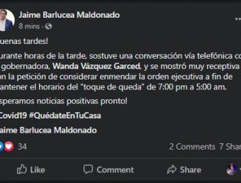 Alcalde de Adjuntas alega Wanda Vázquez podría enmendar la orden ejecutiva del Toque de Queda