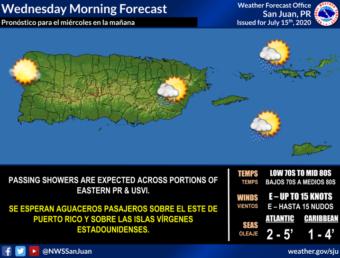 Resumen del estado del tiempo para Puerto Rico del miércoles, 15 de julio de 2020