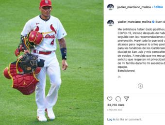Yadier Molina confirma es positivo a COVID-19