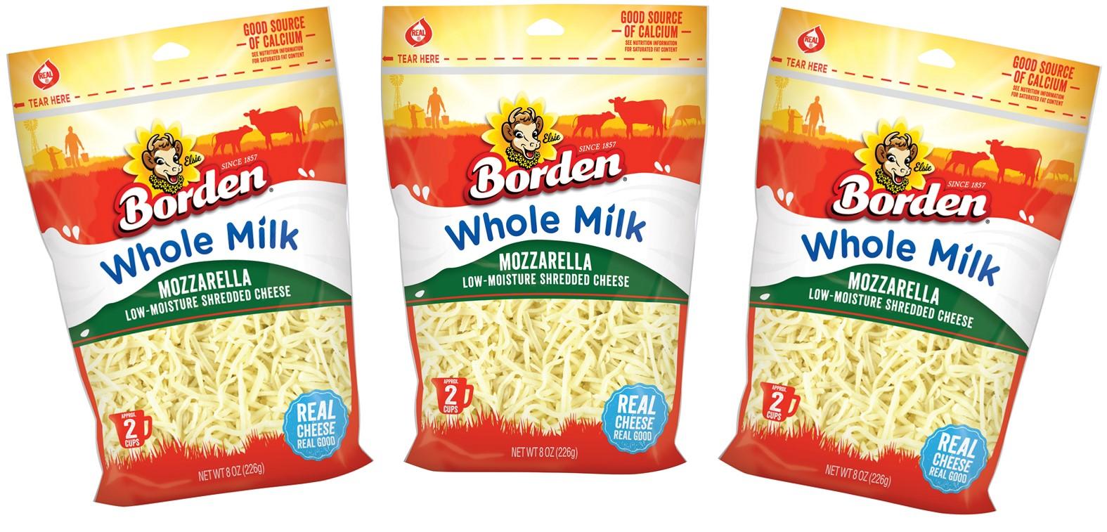 Disponible el nuevo queso Mozzarella Whole Milk Shredded de Borden