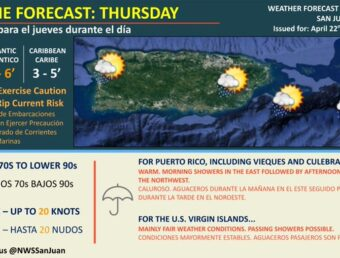 Condiciones calurosas para este jueves, 22 de abril de 2021