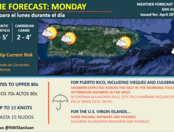Resumen del estado del tiempo para el lunes, 26 de abril de 2021