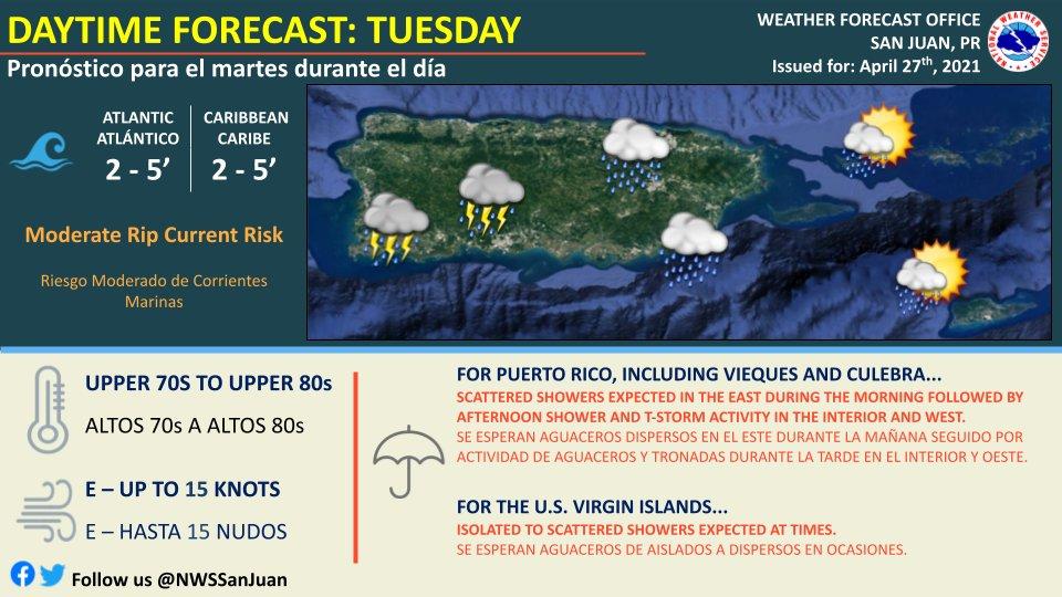 Se esperan condiciones del tiempo deterioradas debido a la cercanía de una vaguada para este martes, 27 de abril de 2021