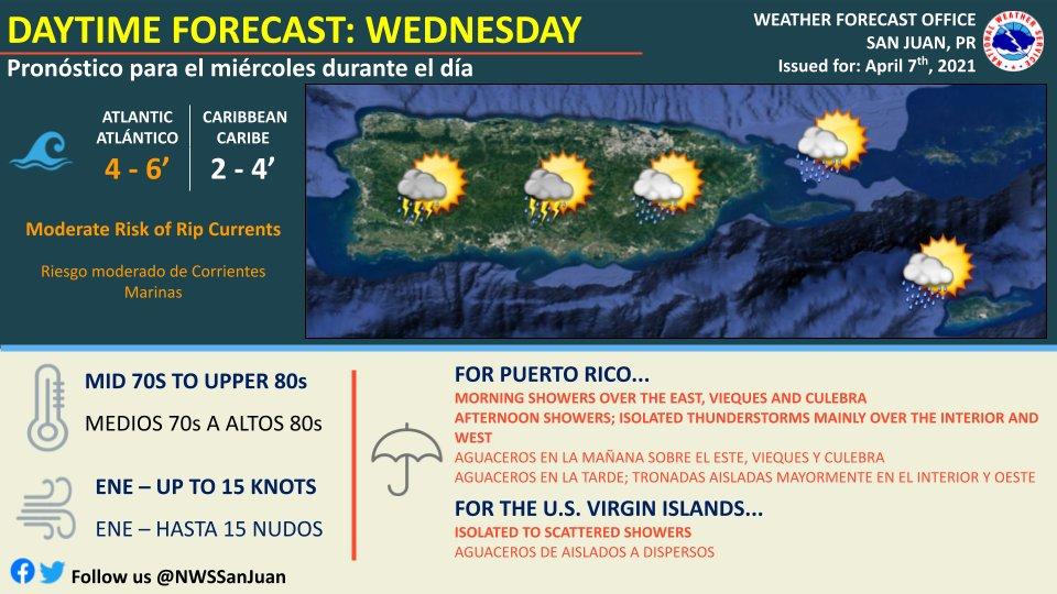 Se esperan aguaceros y tronadas aisladas en el interior y oeste de Puerto Rico para este miércoles, 7 de abril de 2021