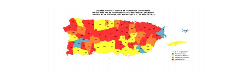 Sistema de Vigilancia del Departamento de Salud clasifica 50 pueblos como de alta o sustancial transmisión de COVID-19