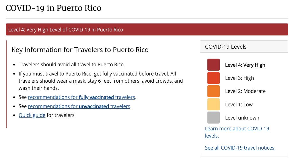 CDC no recomienda viajar a Puerto Rico