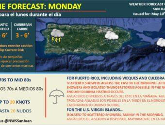 Se espera lluvia y tronadas aisladas para este lunes, 10 de mayo de 2021