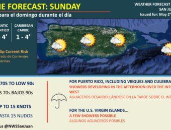 Se esperan aguaceros sobre el interior y oeste de Puerto Rico para este domingo, 2 de mayo de 2021