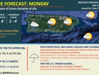 Se esperan aguaceros en el este, interior y suroeste de Puerto Rico para este lunes, 3 de mayo de 2021