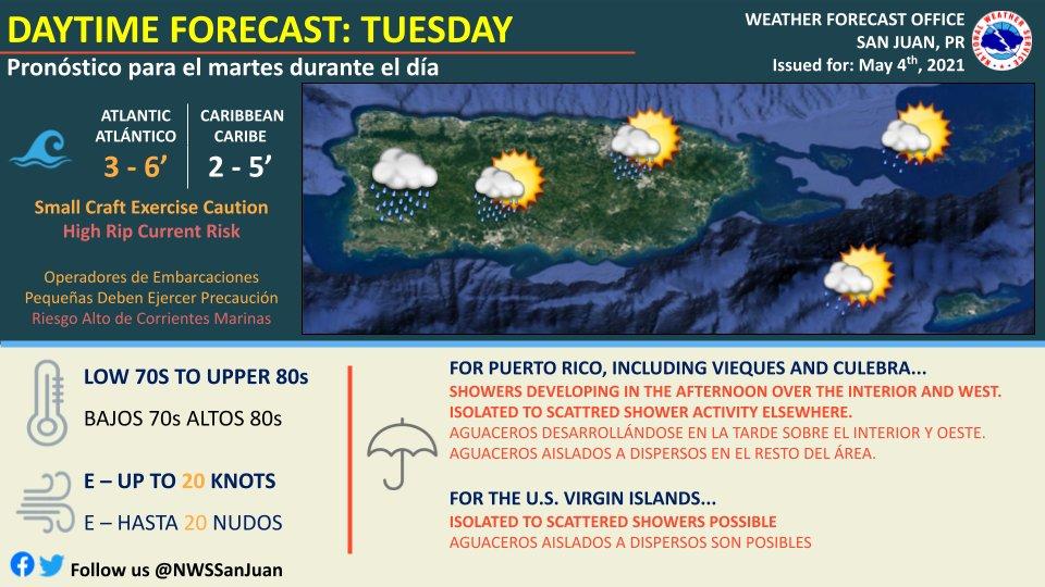 Se esperan aguaceros en el interior y oeste de Puerto Rico para este martes, 4 de mayo de 2021