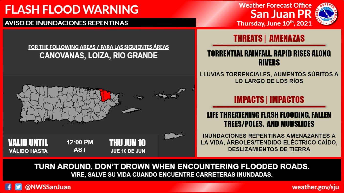 Meteorología amplía el aviso de inundaciones repentinas para pueblos en el norte de Puerto Rico (Ampliación)