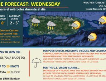 Una onda tropical pasará al sur de Puerto Rico tarde esta noche del miércoles, 30 de junio de 2021