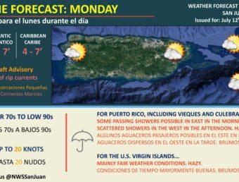 Resumen del estado del tiempo para el lunes, 12 de julio de 2021