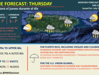 Aguaceros numerosos y tronadas debido al paso de una onda tropical este jueves, 1 de julio de 2021