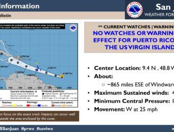 No hay vigilancias ni avisos al momento para Puerto Rico a causa de la Tormenta tropical Elsa