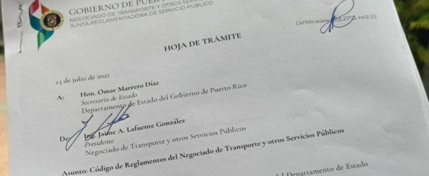 Radican Código de Reglamentos del Negociado de Transporte y Otros Servicios Públicos en el Departamento de Estado